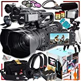 2X JVC GY-HM170UA 4KCAM Compact Professional Camcorder with Top Handle Audio Unit, MDR-7506 Headphones, JVC QAN0067-003 Microphone, 128GB SD Cards, Tripod, Video Light, Extra Battery and Soft Case
