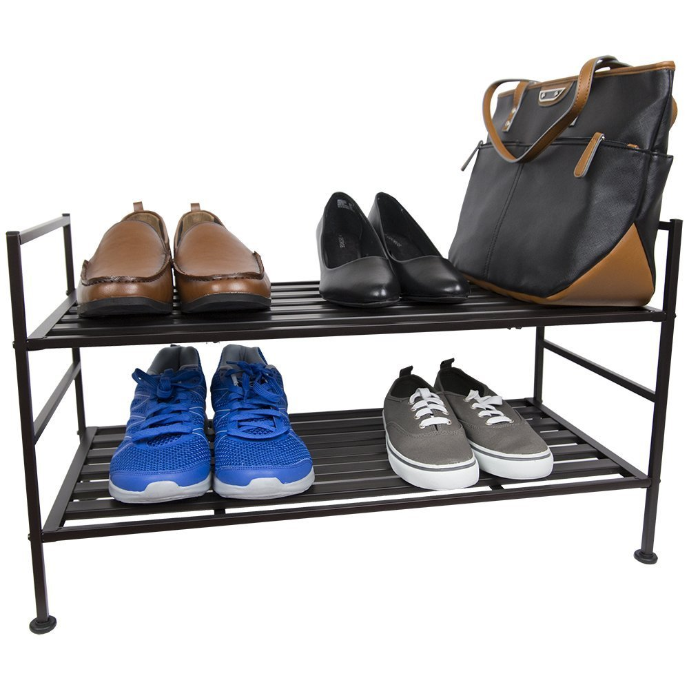 Home Basics Metal Space Saving Strong Durable Shoe Boot Rack Organizer, Espresso Brown (2 Tier)