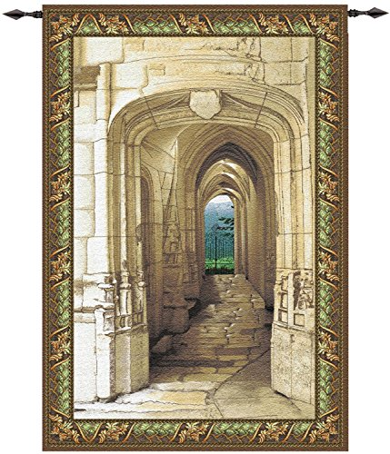 Manual Weavers Tuscan Garden Archway Cotton Tapestry Wall Hanging - 80