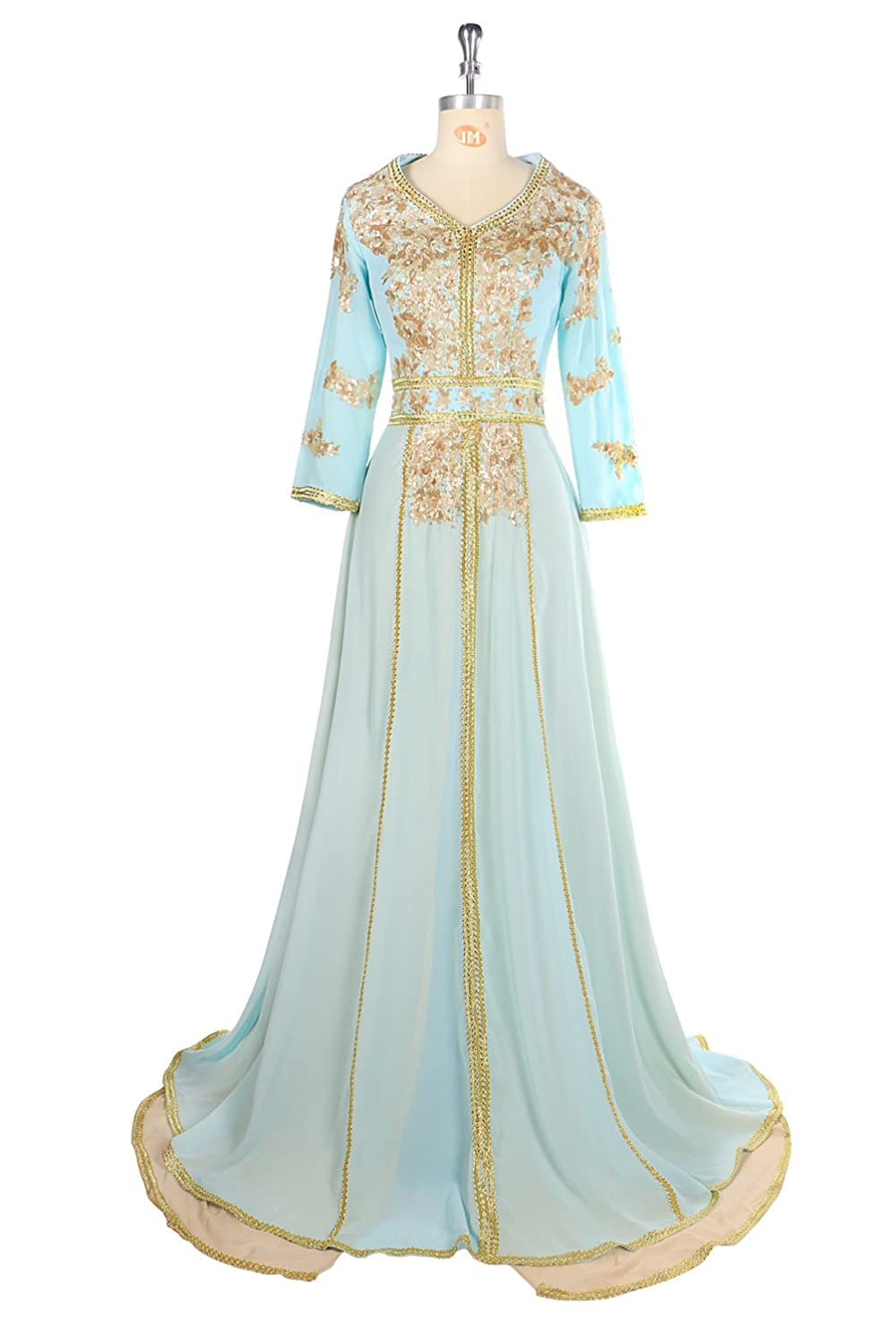Oyeahbridal Muslim Arabic Dubai Evening Dress with Sleeve Gold ...