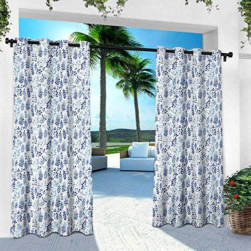 Blue and White, Patio Curtains,Watercolor Style Herbs Fresh Nature Meadow Field Pattern, W84 x L96 Inch, Violet Blue Baby Blue White