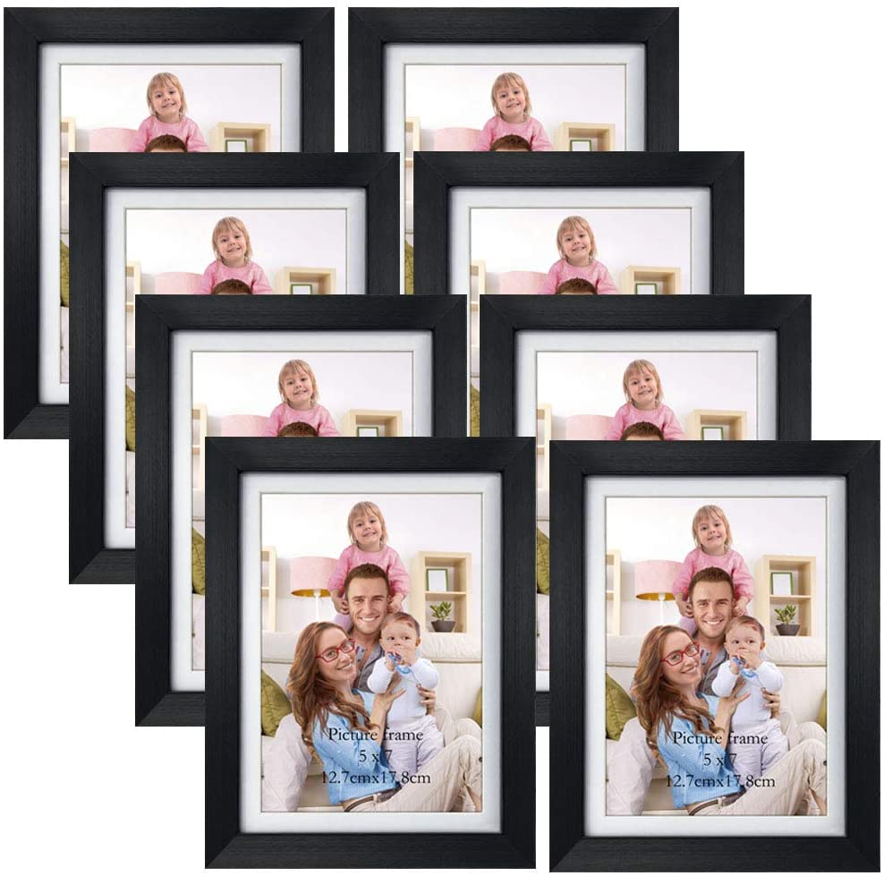 Amazon Com Giftgarden 5x7 Picture Frames Set Of 8 Display 5x7 Pictures With Mat Or 6x8 Photos Without Mat For Wall Decor Or Tabletop Display Black Home Kitchen