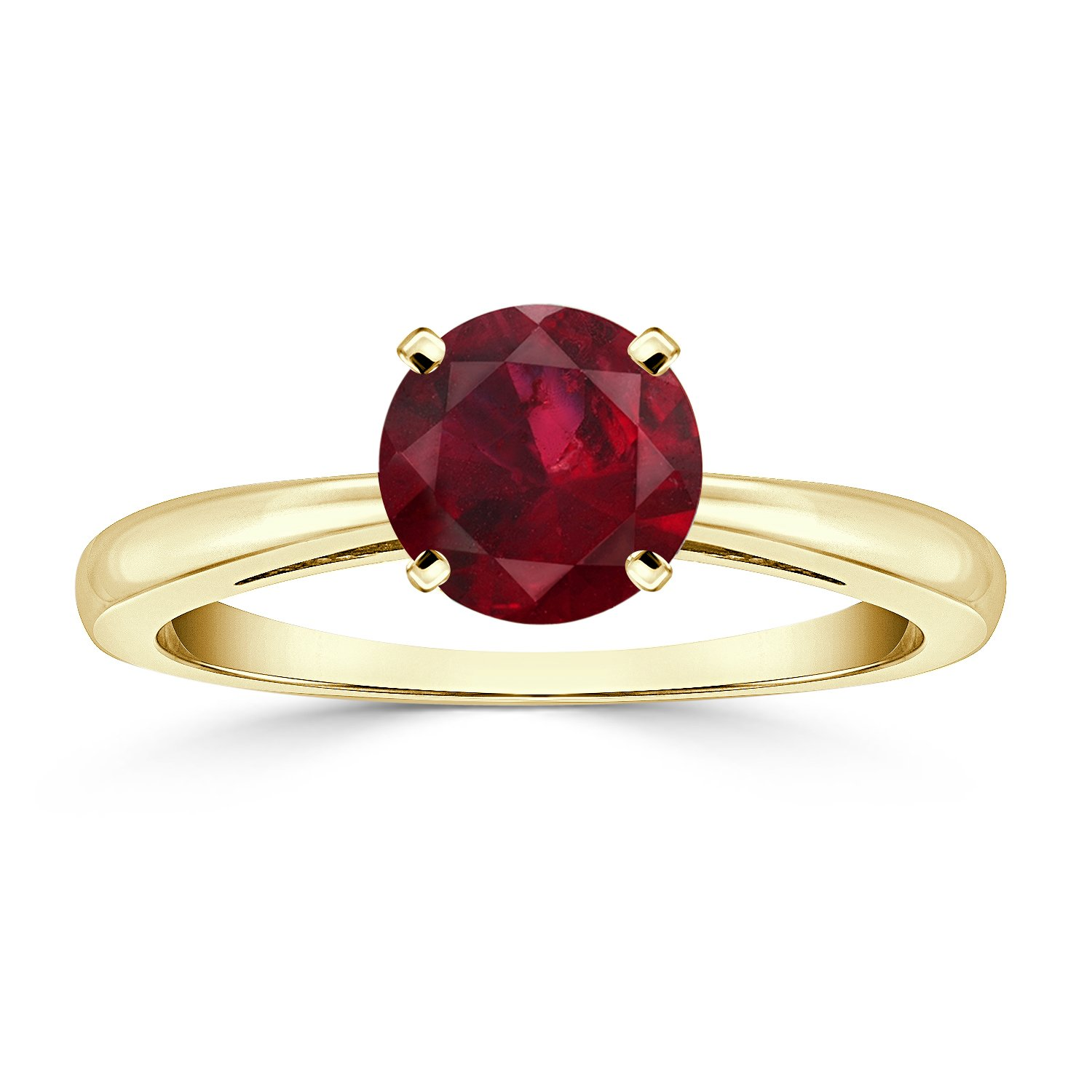 18K Yellow Gold Round-Cut Ruby Gemstone Solitaire Engagement Ring 4 prong (1 cttw)Size 8.5