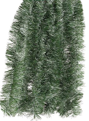 Soft Garland - Fix Find Elegant Hanging Holiday Tinsel Garland 3-inches Thick x 18-feet - Natural Green with Extra Frost