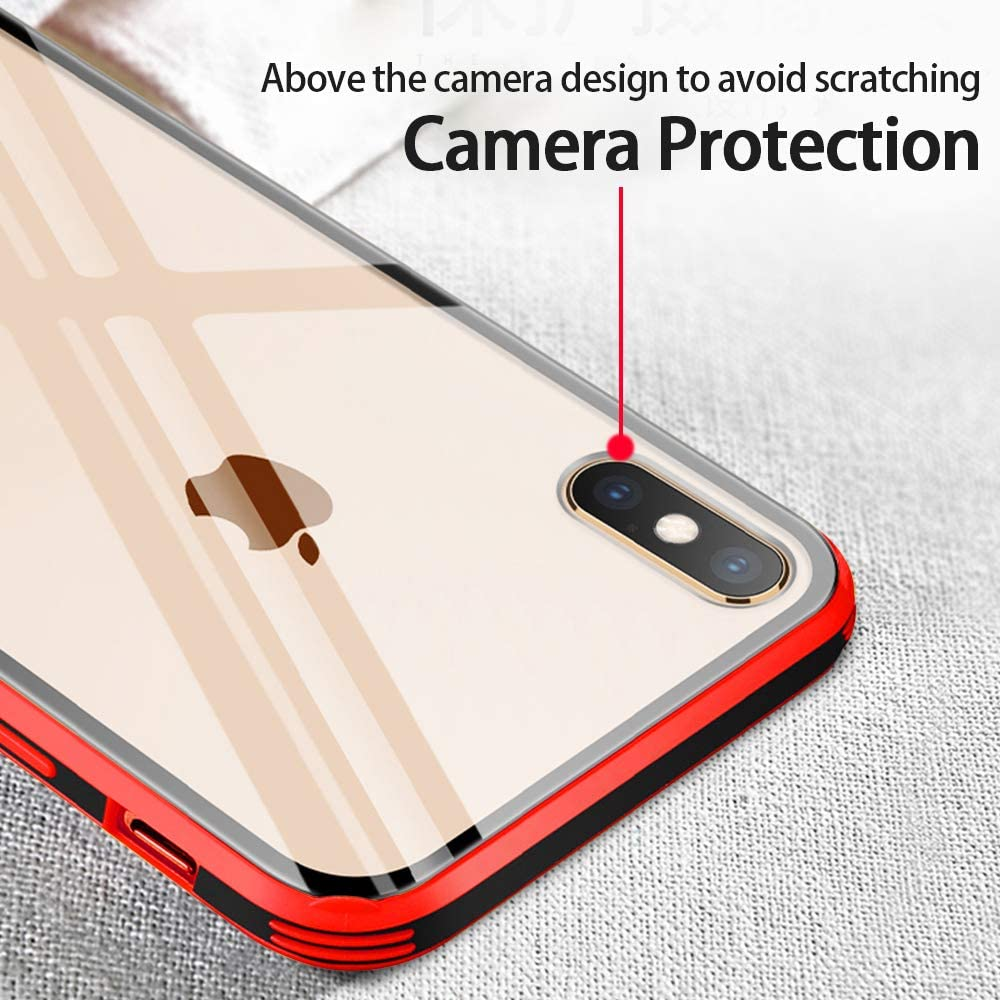 +Color Soft Silicone Frame Bumper Protective Fvntuey Compatible with iPhone XS Max Case Clear Rose Gold ,Hard Glass Back Scratch-Resistant Shock Absorption Slim Cover for iPhone XS Max Ultra-thin