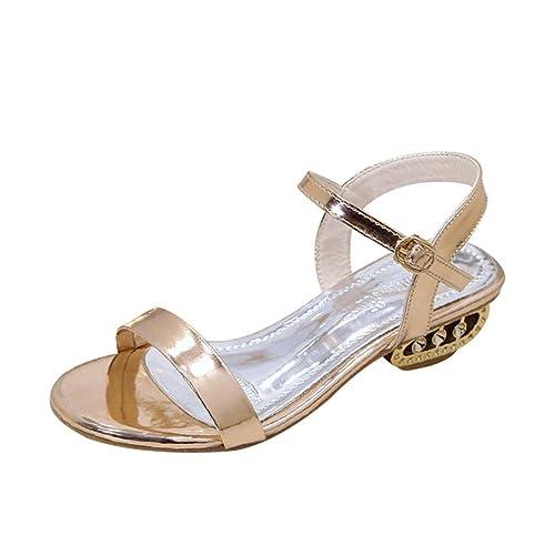 ASHOP Sandalias Mujer Bohemia Las Bailarinas Planas Zapatos de Cordones Verano Punta Abierta Moda Zapatillas De Playa Sandalias y Chanclas de Cuero Cómodo Y ...