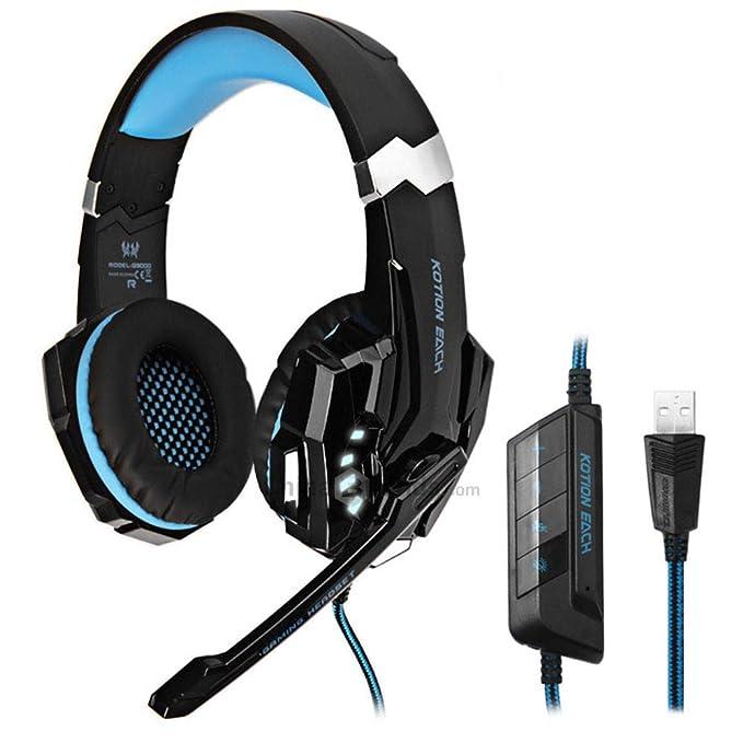 Kotion EACH G9000 Gaming Kopfhörer 7.1 Surround USB Vibration Game Headset Stirnband Kopfhörer mit Mikrofon LED Licht für PC