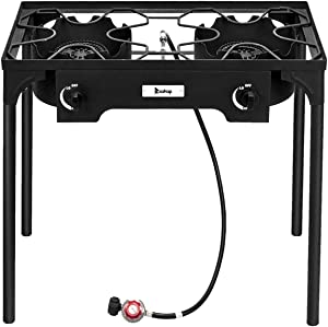 OTU Outdoor Camp Stove High Pressure Propane Gas Cooker Portable Cast Iron Patio Cooking Burner (Double Burner 150000-BTU),for Camping,Fishing,Parties,Tailgates Hunting and Home Brewing