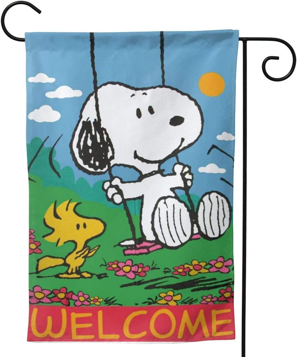 Criss Garden Flag,Snoopy Welcome Red Double Sided Outdoor Flag House Banner for Yard Home Decor 12.5