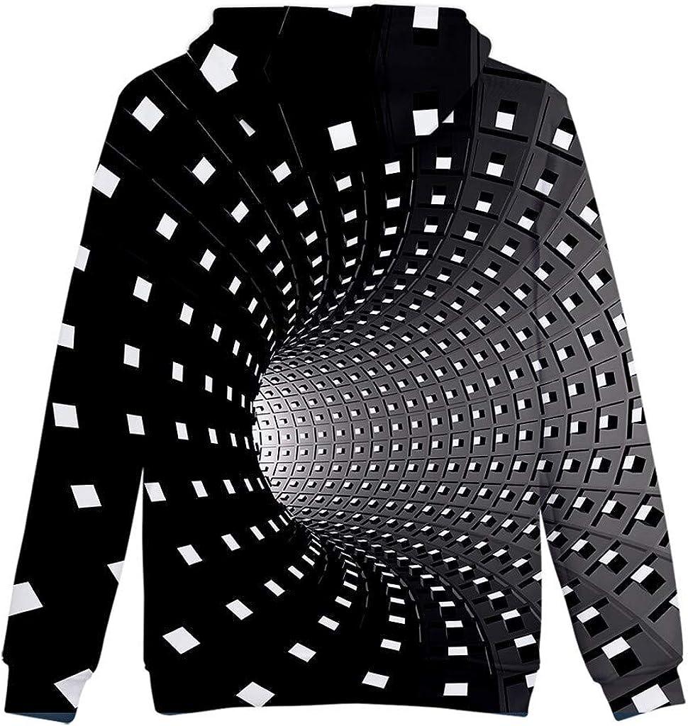 QIANSHION Camicetta Superiore Casual da Uomo con Stampa 3D Creativa Girocollo Casual Tailored Antivento Caldo Maglione Cappotto con Cappuccio