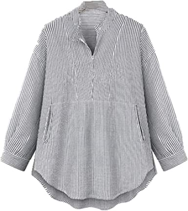 NOBRAND Camisa de manga larga a rayas suelta y versátil para ...