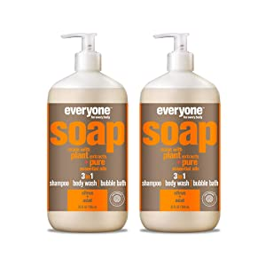 Everyone 3-in-1 Soap - Body Wash, Shampoo, and Bubble Bath - Citrus + Mint, 32 Fl Oz (Pack of 2)