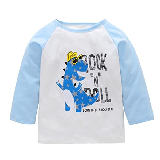 e7c76c9cfe32 Toddler Baby Girls Boys Long Sleeve Animal Print Cotton Soft Pullover T-Shirt  Tops Clothes