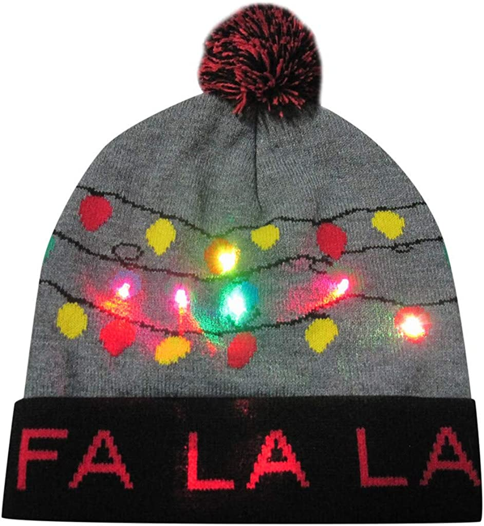 MONISE LED Flashing Holiday Knitted Hat Christmas Reindeer Light up Flashing Beanie Hats for Christmas Decorations