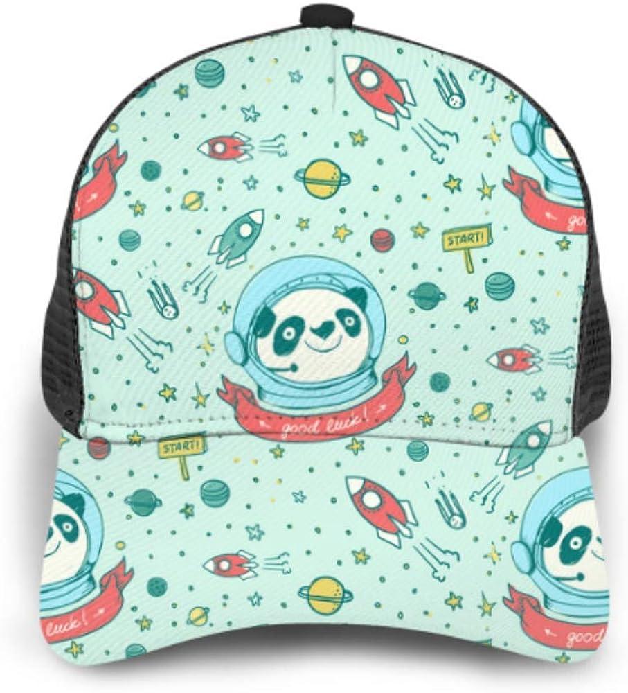 Baseball Cap Panda Astronaut Cosmos Pattern Hand Adjustable Mesh Unisex Baseball Cap Trucker Hat Fits Men Women Hat