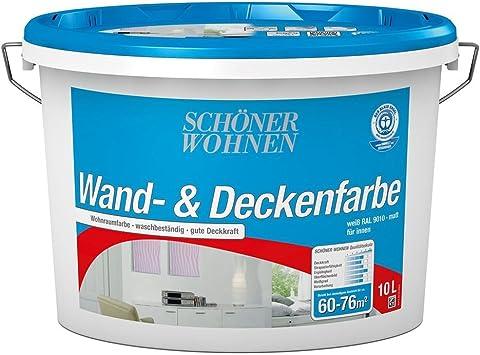 Wand Und Deckenfarbe 10 L Weiss Matt Din En 13 300 Schoner Wohnen Amazon De Baumarkt