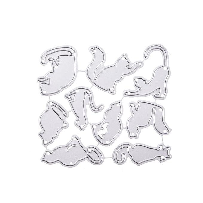 JAGETRADE Plantilla de Corte de Gato de Acero al Carbono para Manualidades, álbum de Recortes, álbum de Recortes, Tarjetas de Papel, Manualidades, ...