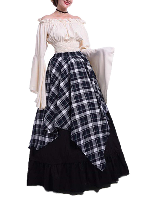 Primavera y Otoño Medieval Renacimiento Vintage Disfraz de Reina Elegante Cuello Barco Cuerno Manga Vestido Mujer Moda Enrejado Costura Maxi Vestidos de ...