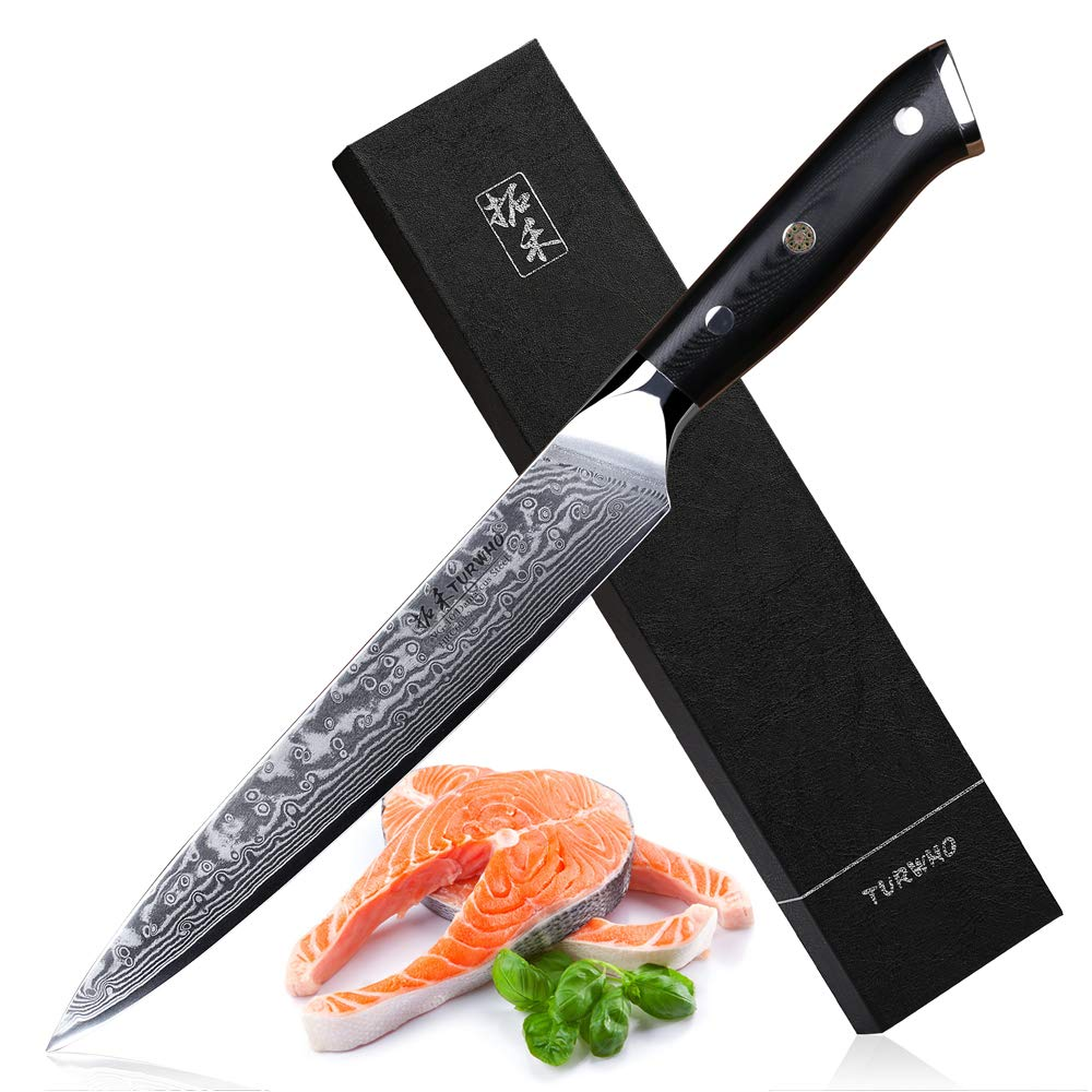 TURWHO 8 inch Slicing Knife - Japanese 67 Layer VG-10 Damascus Steel - Kitchen Carving Sashimi Sushi Knife with Ergonomic G10 Handle by TURWHO