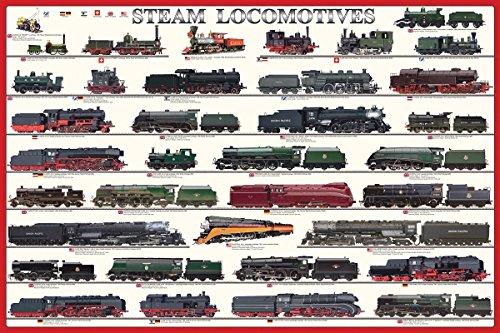 EuroGraphics Laminated Steam Locomotives Trains Educational