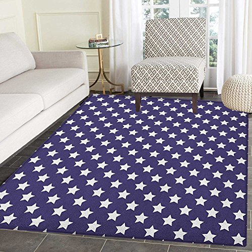 Navy Rug Kid Carpet Bunch of Star Figures USA American Flag