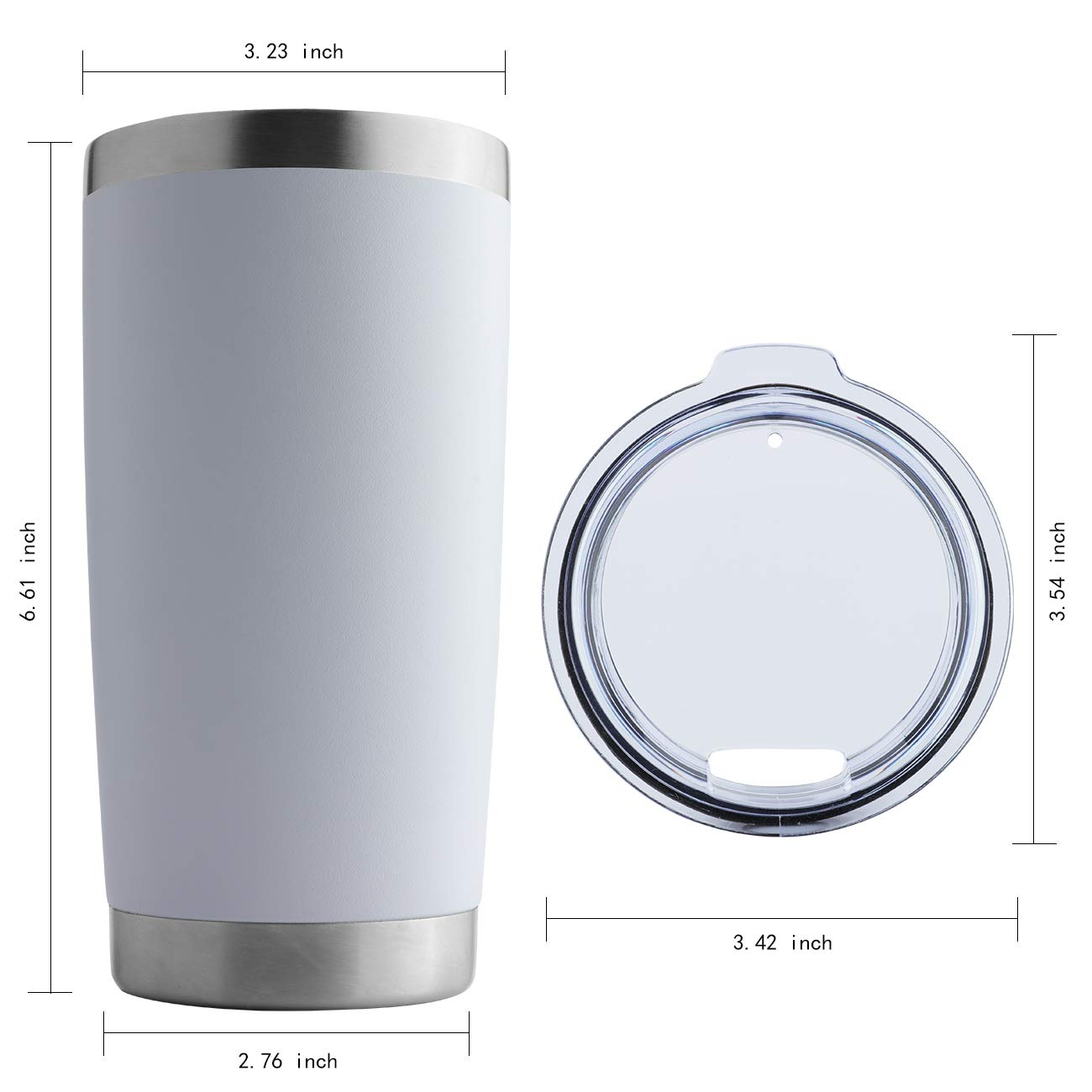 DOMICARE 20oz Stainless Steel Tumbler with Lid, Double Wall Vacuum Insulated Travel Mug, Durable Powder Coated Insulated Coffee Cup, 4 Pack, White by DOMICARE (Image #4)