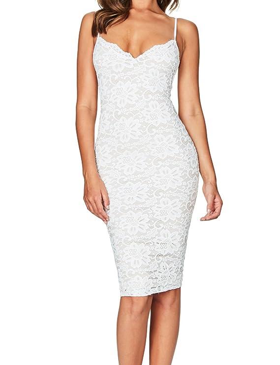 Whoinshop Women's Rayon Lace Strap Celebrity Midi Evening Party Bandage Dress White XS