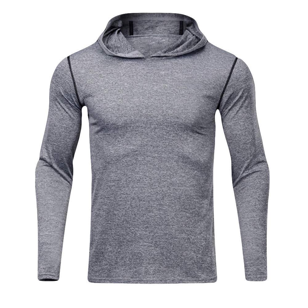 Mens Hoodie, Solid Slim Fit Hooded Pullover Long Sleeve Sport Sweatshirt Elastic Fast Dry Tops Zulmaliu Zulmuliu