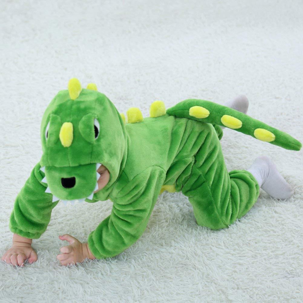 LOLANTA Unisex Baby Dinosaur Dragon Onesie Hooded Winter Flannel Pajamas Romper Costume