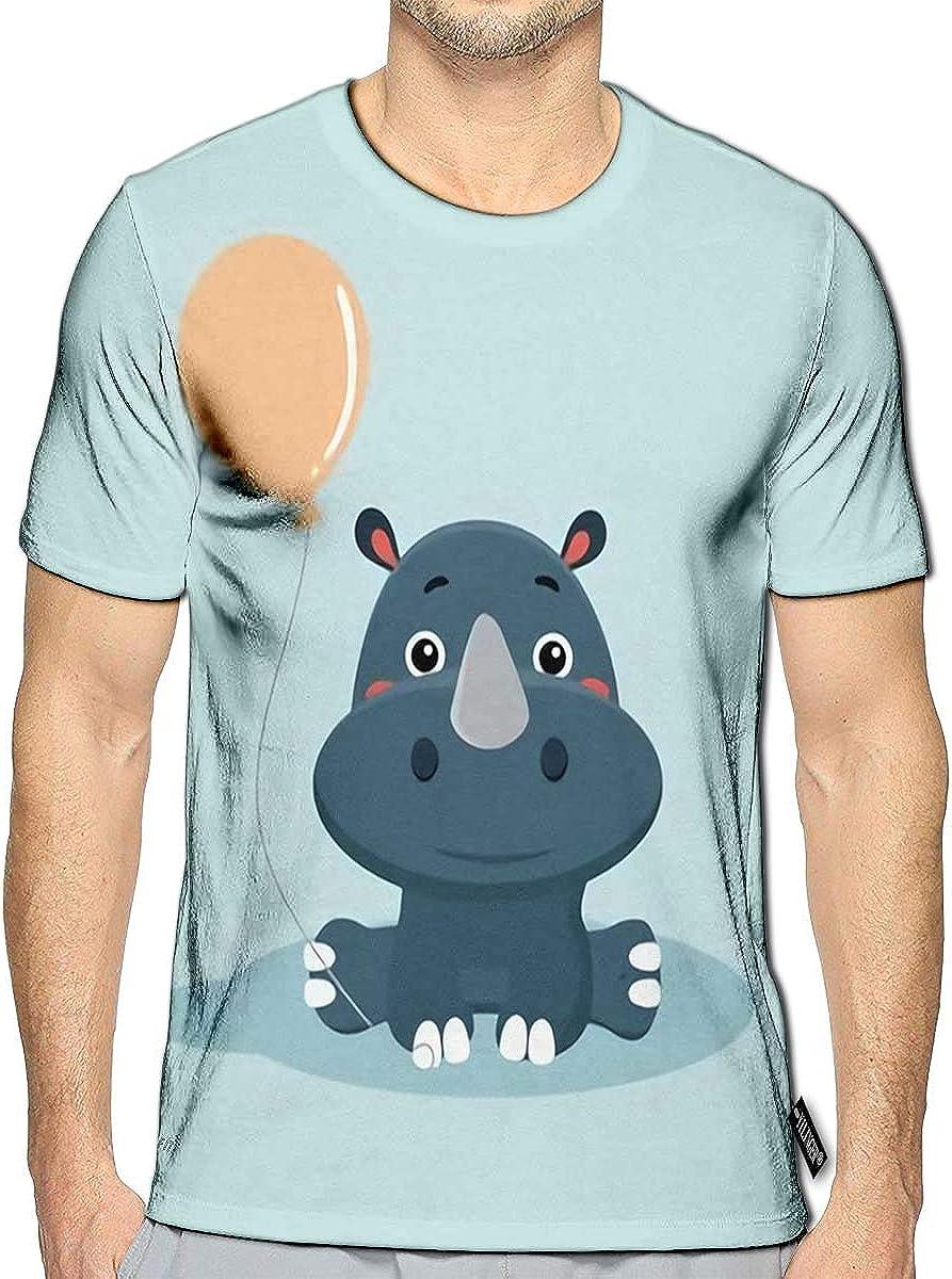 YILINGER 3D Printed T Shirts Cartoon Funny Rhinoceros Casual Mens Hipster Top Tees
