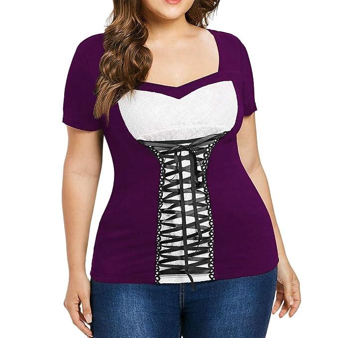 Luckycat Verano Camisetas Mujer Blusas Mujer Tallas Grandes EN Ofertas Blusas de Mujer Elegantes con Encaje
