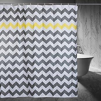 Chevron Shower Curtain, 72 X 72 Inch, Gray/Yellow