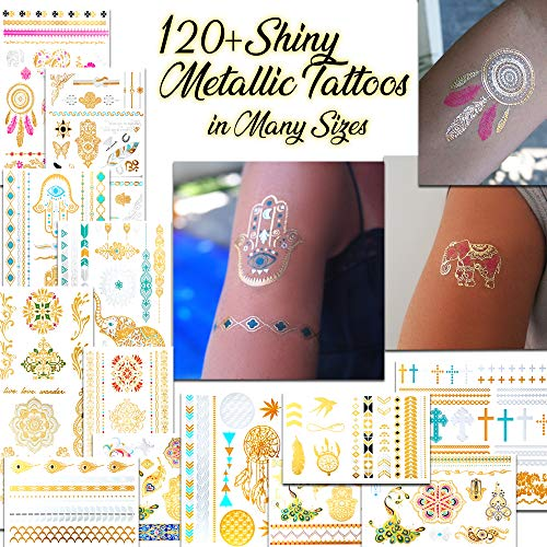 Metallic Temporary Tattoos for Women and Girls - Henna, Hamsa, Feathers, Cross and Other Shiny Gold and Silver Tattoo Stickers for Body Art (120+ Metallic Tattoos - 14 Sheets) from BETTERLINE