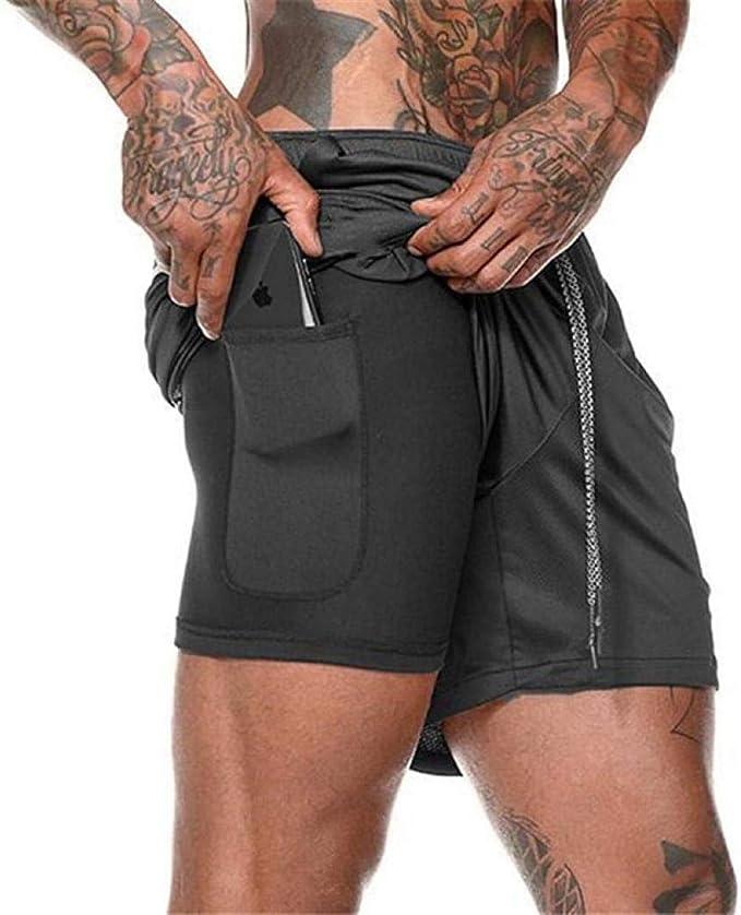 YYW Mens Compression Shorts, 2 in 1