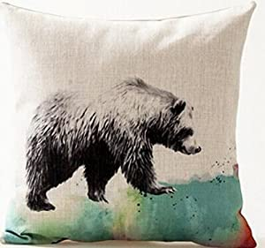 Beautiful Watercolor Animals Walking Colorful Mountain Cotton Linen Throw Pillow Case Personalized Cushion Cover New Home Office Decorative Square 18 X 18 Inches (Bear)
