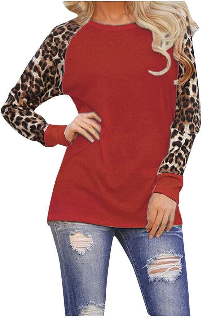 Womens Leopard Blouse Long Sleeve Fashion Ladies T-Shirt Oversize Tops Sweatshirt