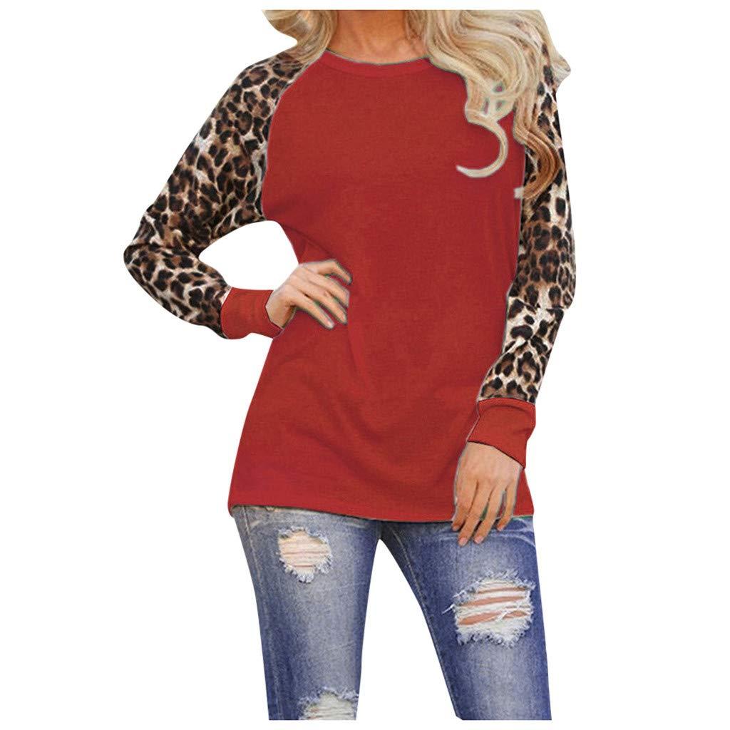 Longra Maglietta Manica Lunga Donna Top Casual con Cuciture a t-Shirt Camicetta Felpa Manica Lunga Leopardo Maniche Lunghe Donna Maglietta Autunno Camicia Maglia Taglie Forti S-5XL