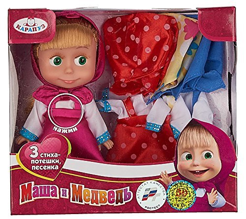 [RusToyShop] 15 Cm Russian Language Talking and Singing Toy doll + 3 dresses Pink Dress Doll Masha and the Bear, the Famous Cartoon, Musical Toy, a Soft Gift, Girl, Birthday 11,4 inch