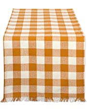 """DII 14x72"""" Cotton Table Runner, Heavyweight Fringed Pumpkin Spice Orange & White Check - Perfect for Fall, Farmhouse Décor, Thanksgiving or Everyday Use"""