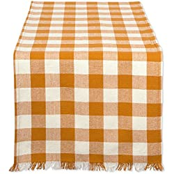 "DII Cotton Woven Heavyweight Table Runner with Decorative Fringe for Spring, Summer, Family Dinners, Outdoor Parties, & Everyday Use (14x72"") Pumpkin Spice Check"