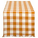 DII Cotton Woven Heavyweight Table Runner with Decorative Fringe for Spring, Summer, Family Dinners, Outdoor Parties, & Everyday Use (14x108'') Pumpkin Spice Check