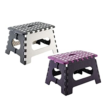 Assorted Folding Step Stool Plastic Home Kitchen Foldable Storage Handle 120 kg