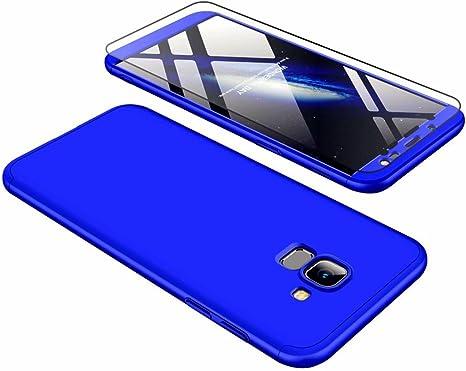 Funda Samsung Galaxy J6 2018, Carcasa Samsung Galaxy J6 2018 con [ Cristal Templado] 3 en 1 Desmontable 360 Grados Anti-Arañazos Protectora Caso, Azul: Amazon.es: Electrónica