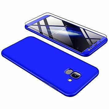 Funda Samsung Galaxy J6 2018, Carcasa Samsung Galaxy J6 2018 con [ Cristal Templado] 3 en 1 Desmontable 360 Grados Anti-Arañazos Protectora Caso, Azul