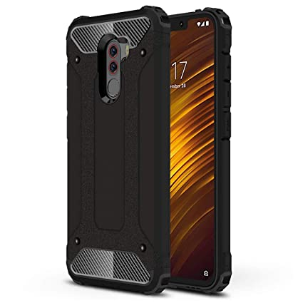HUUH Funda Xiaomi Pocophone F1 Carcasa Caja de teléfono móvil, combinación TPU + PC, Hermosa Mano de Obra(Negro)