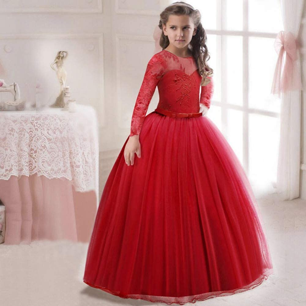 Baby Girl Dresses Lace Girl Princess Bridesmaid Pageant Tutu Tulle Gown Party Wedding Dress for 12-18 Months