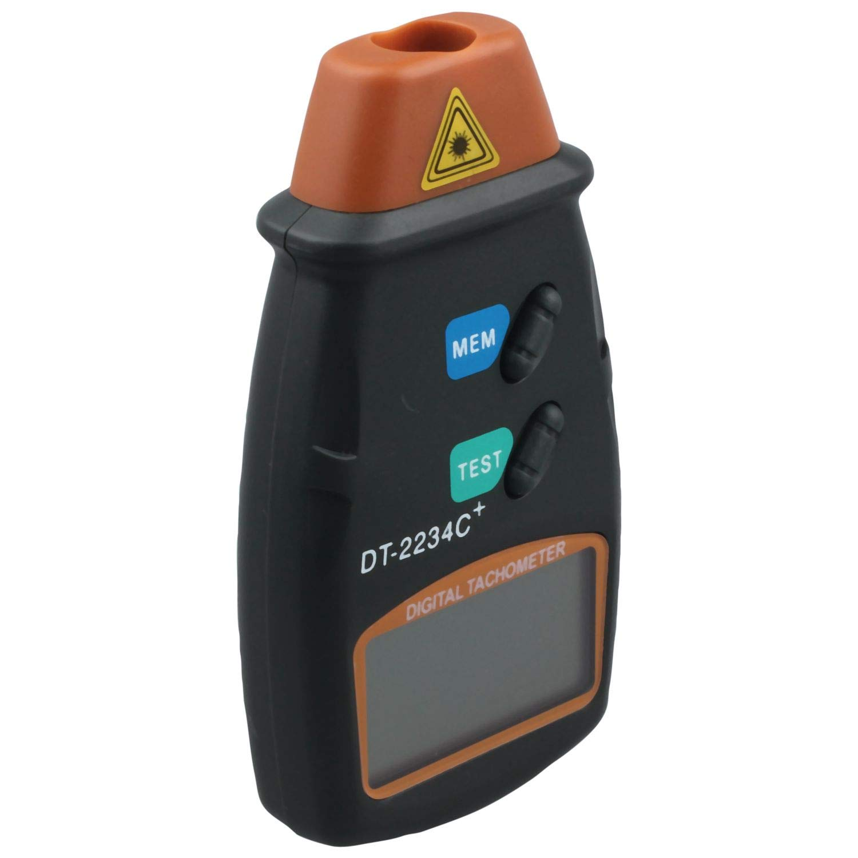 Tacometro SODIAL R Negro Profesional Digital Tacometro de foto laser Sin contacto RPM Tacometro Naranja