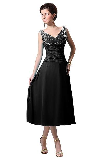 Bess Bridal Women s V Neck Chiffon Tea Length Mother of The Bride Dress  Size 2 US c31e3b5cd2