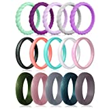 Silicone Wedding Rings for Women, 15-Pack Thin