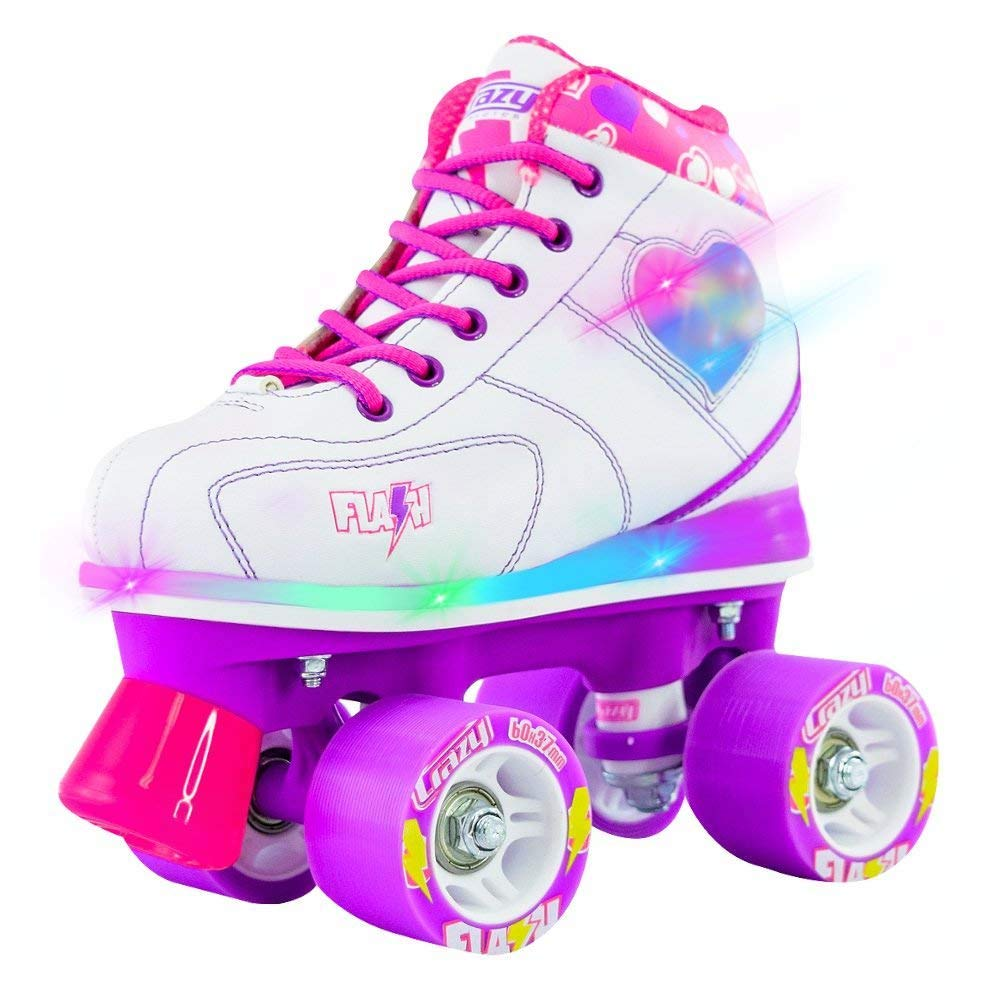 Crazy Skates Flash Roller Skates for Girls | Light Up Skates with Ultra Bright LED Lights and Flashing Lightning Bolt | White Patines (Jr 12)